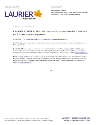084-2016 : LAURIER EXPERT ALERT: Post-traumatic stress disorder treatment for first responders legislation