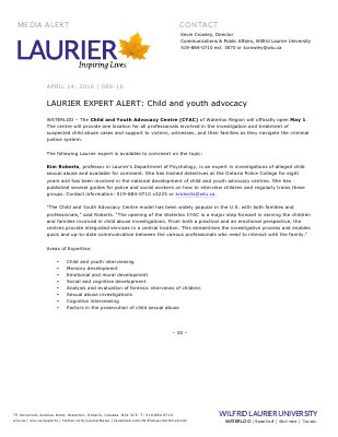 089-2016 : LAURIER EXPERT ALERT: Child and youth advocacy