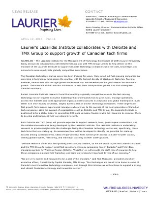 092-2016 : Laurier's Lazaridis Institute collaborates with Deloitte and TMX Group to support growth of Canadian tech firms