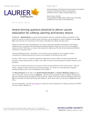 102-2016 : Award-winning quantum physicist to deliver Laurier Association for Lifelong Learning anniversary lecture