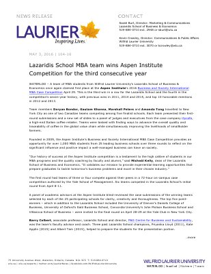 104-2016 : Lazaridis School MBA team wins Aspen Institute  Competition for the third consecutive year