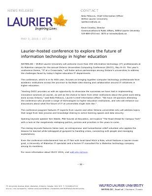 107-2016 : Laurier-hosted conference to explore the future of information technology in higher education