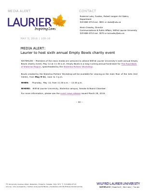 108-2016 : MEDIA ALERT: Laurier to host sixth annual Empty Bowls charity event