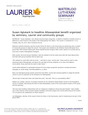 109-2016 : Susan Aglukark to headline Attawapiskat benefit organized by seminary, Laurier and community groups