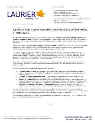 111-2016 : Laurier to host physics education conference exploring diversity in STEM fields