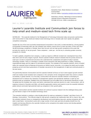 113-2016 : Laurier's Lazaridis Institute and Communitech join forces to help small and medium-sized tech firms scale up