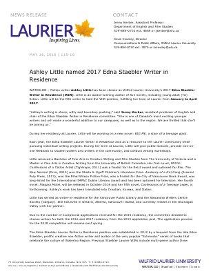 115-2016 : Ashley Little named 2017 Edna Staebler Writer in Residence