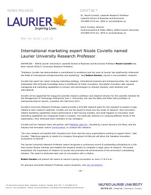 117-2016 : International marketing expert Nicole Coviello named Laurier University Research Professor