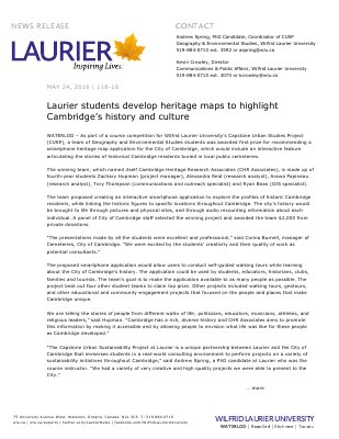 118-2016 : Laurier students develop heritage maps to highlight Cambridge's history and culture