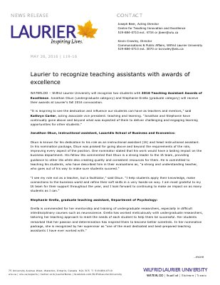 119-2016 : Laurier to recognize teaching assistants with awards of excellence