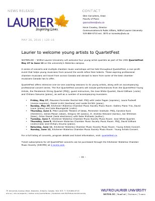 120-2016 : Laurier to welcome young artists to QuartetFest