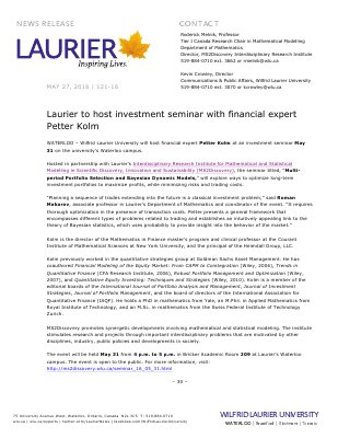 121-2016 : Laurier to host investment seminar with financial expert Petter Kolm