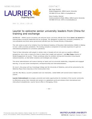 125-2016 : Laurier to welcome senior university leaders from China for training and exchange