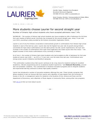 130-2016 : More students choose Laurier for second straight year