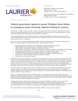 132-2016 : Federal government appoints Laurier Professor Anne Wilson to prestigious panel reviewing national funding for science