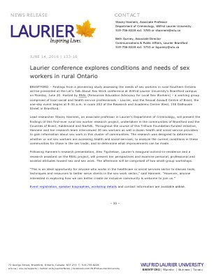 133-2016 : Laurier conference explores conditions and needs of sex workers in rural Ontario