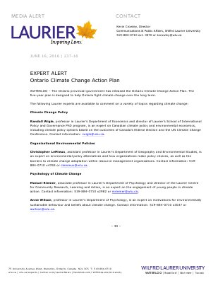 137-2016 : EXPERT ALERT: Ontario Climate Change Action Plan