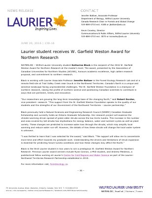 138-2016 : Laurier student receives W. Garfield Weston Award for Northern Research