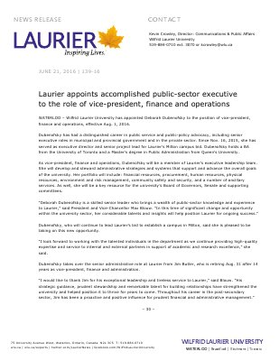 139-2016 : Laurier appoints accomplished public-sector executive to the role of vice-president, finance and operations