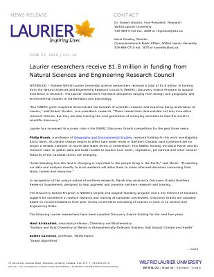 141-2016 : Laurier researchers receive $1.8 million from Natural Sciences and Engineering Research Council