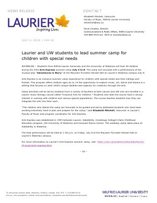 144-2016 : Laurier and UW students to lead summer camp for children with special needs