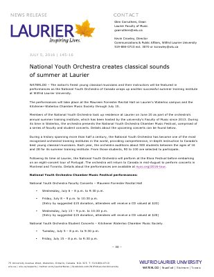 145-2016 : National Youth Orchestra creates classical sounds of summer at Laurier