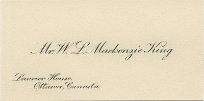 William Lyon Mackenzie King calling card and envelope