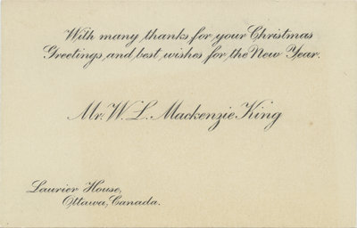 William Lyon Mackenzie King seasonal card
