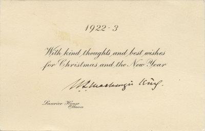 William Lyon Mackenzie King Christmas card