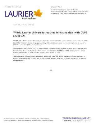 148-2016 : Wilfrid Laurier University reaches tentative deal with CUPE Local 926