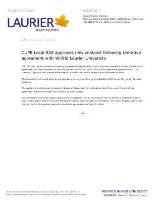 149-2016 : CUPE Local 926 approves new contract following tentative agreement with Wilfrid Laurier University