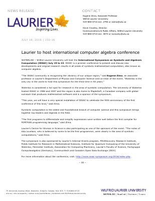 150-2016 : Laurier to host international computer algebra conference