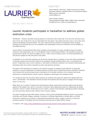 155-2016 : Laurier students participate in hackathon to address global extinction crisis