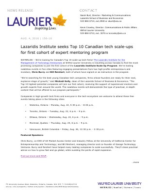 156-2016 : Lazaridis Institute seeks Top 10 Canadian tech scale-ups for first cohort of expert mentoring program