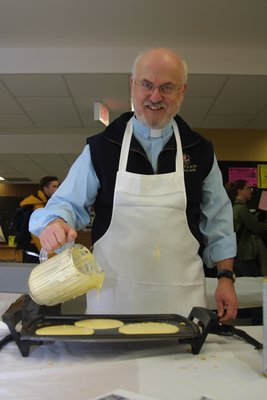 Graham Morbey at Pancake Tuesday event, Wilfrid Laurier University