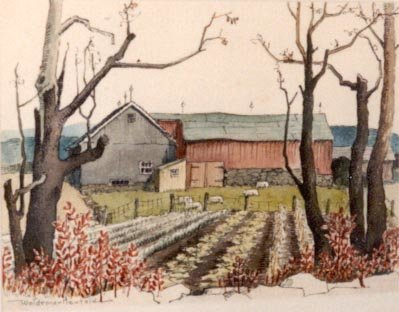 Red Barn with Bare Trees