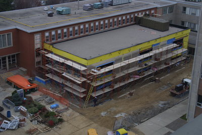 Construction of the Wilfrid Laurier University Arts Building addition