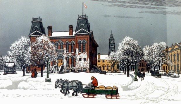 Waterloo Town Hall in Winter