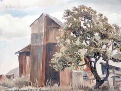 Barn with Apple Tree