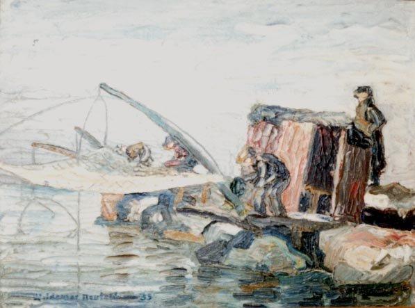 Net Fishing at Lake Erie