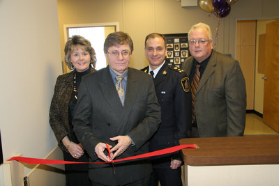 Ribbon cutting, Wilfrid Laurier University Special Constable Service Open House