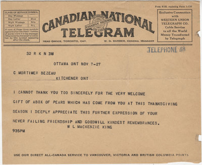 Telegram from William Lyon Mackenzie King to C. Mortimer Bezeau, November 7, 1927