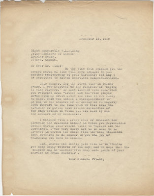 Letter from C. Mortimer Bezeau to William Lyon Mackenzie King, December 15, 1928