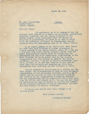 Letter from C. Mortimer Bezeau to William Lyon Mackenzie King, March 10, 1930