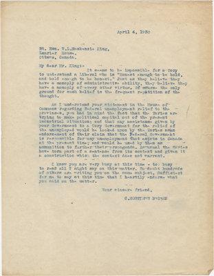 Letter from C. Mortimer Bezeau to William Lyon Mackenzie King, April 4, 1930