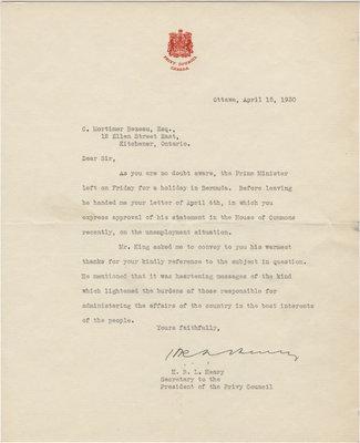 Letter from H. R. L. Henry to C. Mortimer Bezeau, April 15, 1930