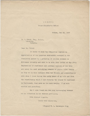 Letter from William Lyon Mackenzie King to S. C. Tweed, May 20, 1930