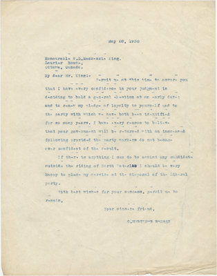 Letter from C. Mortimer Bezeau to William Lyon Mackenzie King, May 28, 1930