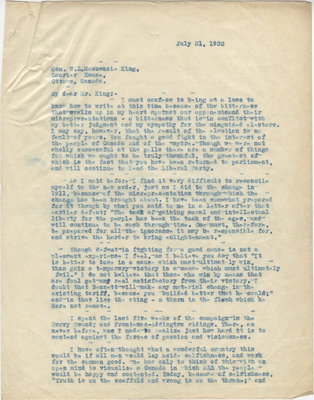Letter from C. Mortimer Bezeau to William Lyon Mackenzie King, July 31, 1930
