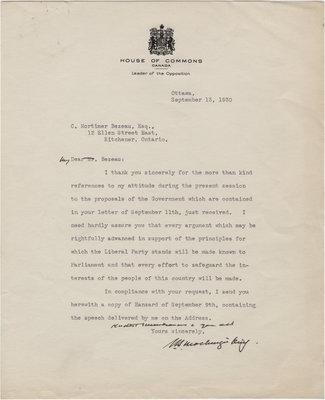 Letter from William Lyon Mackenzie King to C. Mortimer Bezeau, September 13, 1930